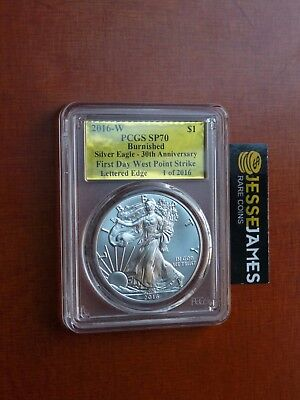 2016 W Burnished Silver Eagle Pcgs Sp70 Gold Foil First Day Of Issue 1 Of 2016