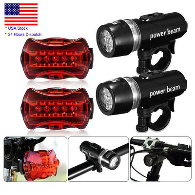 2 x Bike 5 LED Bicycle Front Head Light Flashlight + Rear Safety Waterproof Lamp