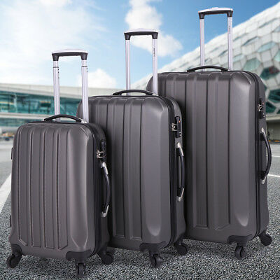 ECO 3 Pcs Luggage Travel Set Bag ABS Trolley Spinner Carry On Suitcase TSA Lock