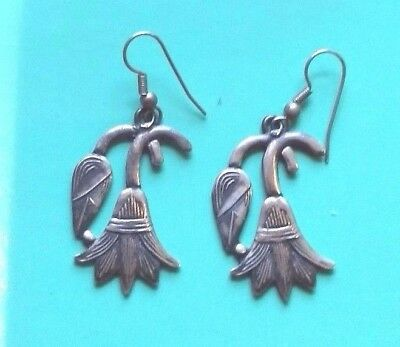 ART DECO EGYPTIAN lotus flower sterling earrings-hallmarked-AUTHENTIC