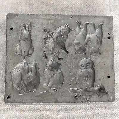 Antique Animal Sulphide Marble Figurines Lead Mold Bunny Rabbit Cat Owl Bear