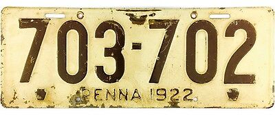 1922 Pennsylvania License Plate #703-702 NICE NUMBER No Reserve