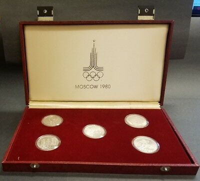 1980 RUSSIA (5) COIN MOSCOW OLYMPIC GAMES MINT SET 150 Rubles 1/2 oz PLATINUM