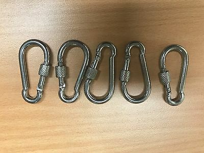 5 FIVE Quality Silver Stainless Steel Snap Hook with Screw Lock 50X5mm Carabiner