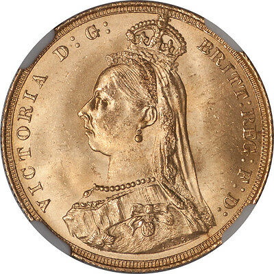Great Britain 1887 Victoria Gold Sovereign NGC MS-64 UNDERGRADED!!