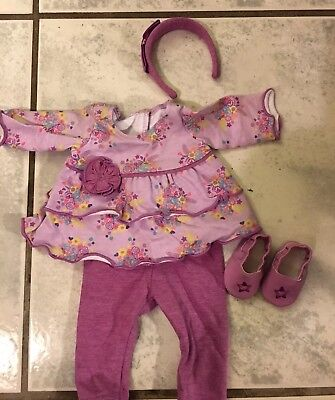 American Girl Bitty Baby Purple Posies Outfit Headband Shoes New