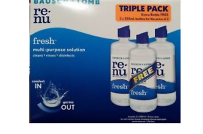 GENUINE Bausch + Lomb Re-Nu Multi Purpose Contact Lens Solution 3 Pack Fast Post