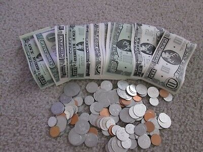 Large Lot of Vintage Play Money - Paper, Coins