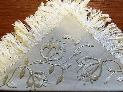 Vintage Napkins Antique Embroidered Society Silk Embroidery Linen Flowers 8 pc