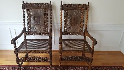 2 Antique Barley twist Chairs with Crown 19th Century