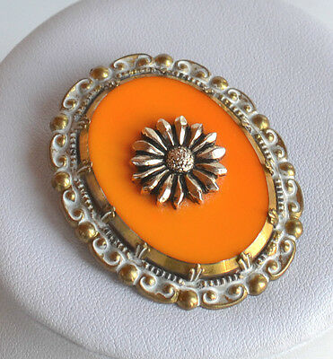 Art Deco Germany oval orange glass cameo brooch pin repousse metal frame vintage