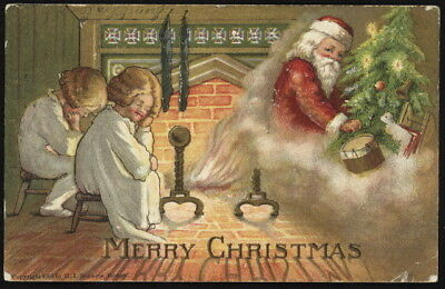 1907 children imagine Santa in smoke from fireplace embossed color post card