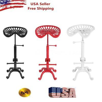 Industrial Style Cast Iron Tractor Seat Bar Stool Adjustable Barstool Chair T4Q5