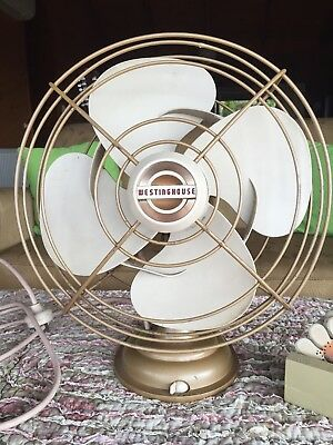 VINTAGE RETRO WESTINGHOUSE OSCILLATING FAN Heavy Champagne Colour Working