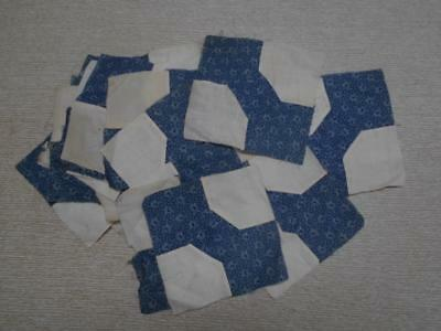 Lot Of 44 Vintage Quilt Blocks..bow Tie..blue..hand Sewn