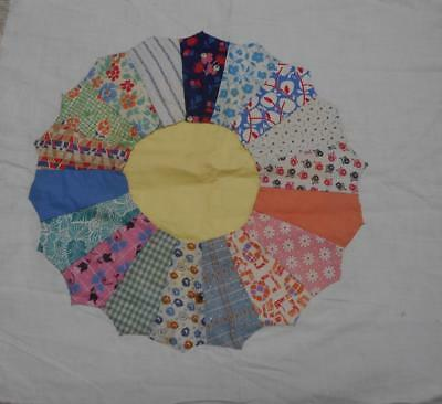 Two Vintage Quilt Blocks..dresden Plate..hand Sewn..feedsack Fabric
