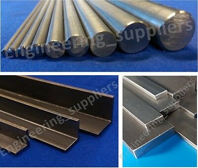 Bright Mild Steel Bar Round Square & Right Angle 100mm - 600mm Long (EN1A, EN3B)