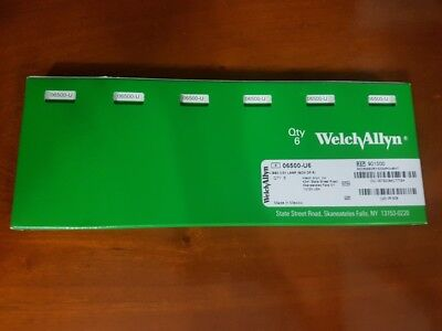 NEW WELCH ALLYN GENUINE 06500-U REPLACEMENT BULBS for 23820 23810; Pack of 6