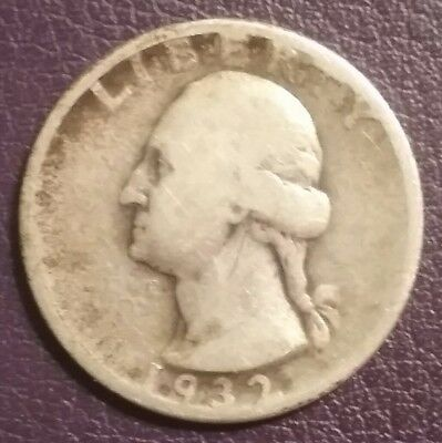 1932 Quarter FIRST WASHINGTON 90% Silver Unwashed Nice Coin Solid Good Condition