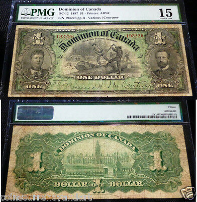 95 Known - Very Scarce . Pmg 15 : Dominion Of Canada , 1897 $1 Dc-12