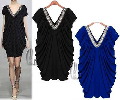 WHOLESALE BULK LOT OF 10 MIXED STYLE SIZE Sequin Neck Batwing Mini Dress dr052