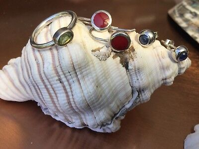 925 Silver COLOURFUL Bulk Buy! Green Stone Ring, Blue Studs & Red Drop Earrings