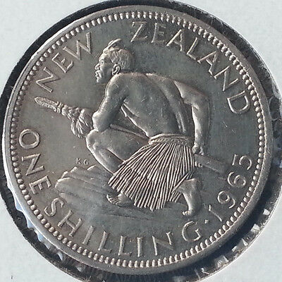 New Zealand Coin One Shilling 1965 Uncirculated Nice coin full of amazing detail