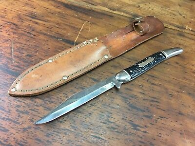 Vintage Colonial Prov. Usa Fixed Blade Stockmans Knife In Leather Sheath