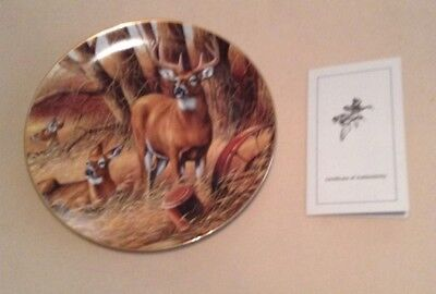 Rosemary Millette Collectors Plate -Wild Wings- Rustic Retreat- Whitetail Deer !