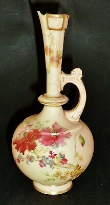 Superb VICTORIAN ROYAL WORCESTER hand painted BLUSH WARE JUG pitcher 1887 a/f