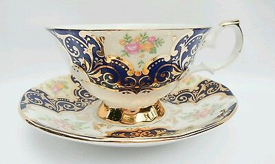Vintage Rare Queens Balmoral Black Gold Floral Bone China Teacup England