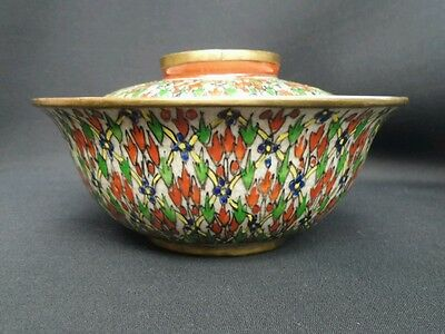 """Antique Chinese Wucai c1800 Qing 6"""" Porcelain Serving bowl ONE Benjarong export"""