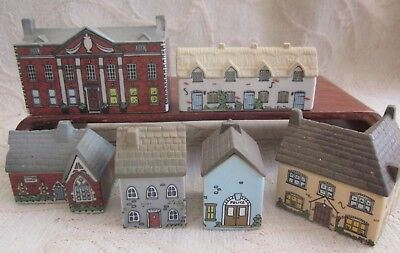 5 vintage WADE WHIMSEY on WHY VILLAGE ceramic HOUSES & SCHOOL small imperfection