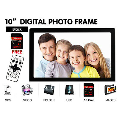 "10"" Black Digital Photo Picture Frame Alarm MP3 USB Audio Video Photograph + 8GB"