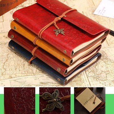 Retro Leather Journal Notebook Embossed Travel Diary with Butterfly Pendant