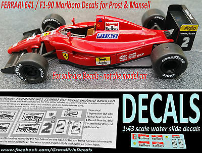 Ferrari 641 F1 90 Marlboro water slide DECALS for Prost & Mansell 1/43 scale IXO