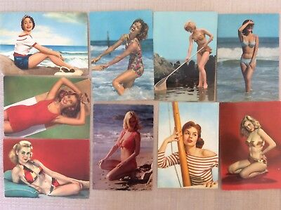 9 CARTOLINE Anni \'60 Donne E Pin Up In Costume Da Bagno Mare E ...