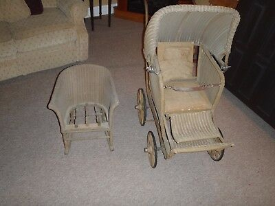 Antique 1920's FA Whitney Wicker Carriage Co., MA, USA  Baby Buggy rocker chair