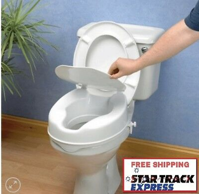 """NEW Savanah Raised Toilet Seat ( With Lid ) - 2"""" / 5cm Height"""