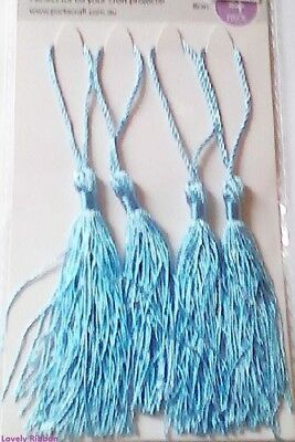 4 PACK, LIGHT BLUE TASSLES, 8cm, Card Making, Wedding, Sewing, Xmas, Free Post