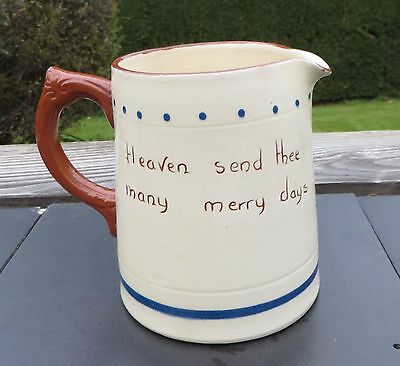 Vintage Torquay Motto Ware Dartmouth Pottery Cottage Jug 1pt