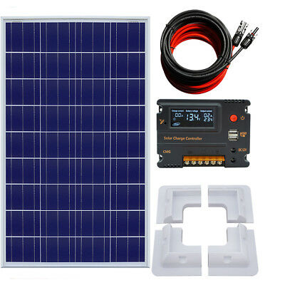 100W poly Solar Panel Kit 12V 10A Charger LCD Bracket & 15A Controller  Caravan