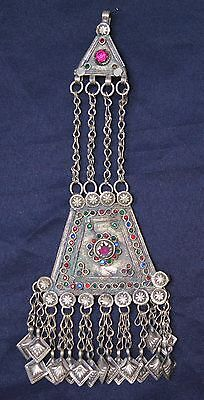 #2 Large Genuine Old Uzbek Tribal Silver Pendant Cut Glass Insert
