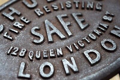 Very Rare Cast Iron Chubb,s Safe Plaque 128 Queen Victoria St London