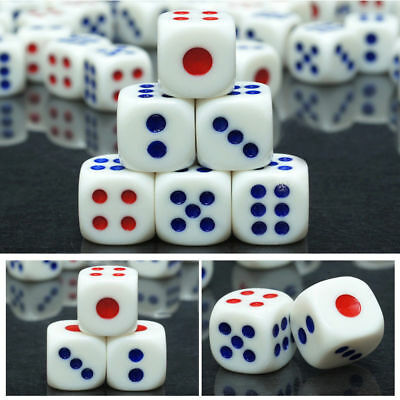 20pcs Plastic Six Sided Count Dice White With Blue Red Pips Bar KTV Party Supply