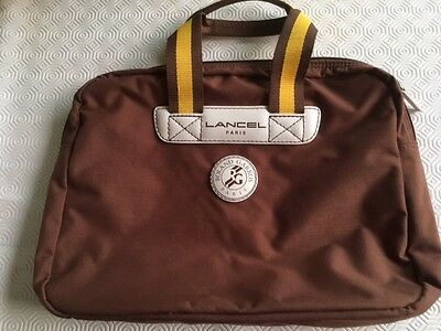 Sac Sacoche Porte document LANCEL  toile Roland Garros
