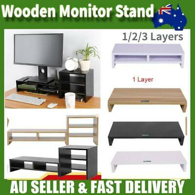 New Computer Screen Desktop Stand Wooden Monitor Laptop TV Riser Pockets Holder