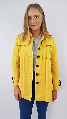 VINTAGE retro yellow coat with brown buttons, rounded collar size S