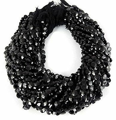 """5 Strands Black Spinel Coin Checker Cut Faceted Rondelle Beads 5-6mm 13.5"""" Long"""
