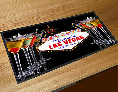 Personalised with your name Las Vegas Cocktail Glasses bar runner home bar